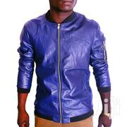 Long Sleeve Faux Leather Jacket - Navy Blue | Clothing for sale in Central Region, Kampala