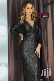 Women Black Long Sleeve v Neck Twist Ruched Sequin Prom Maxi Dress | Clothing for sale in Central Region, Kampala
