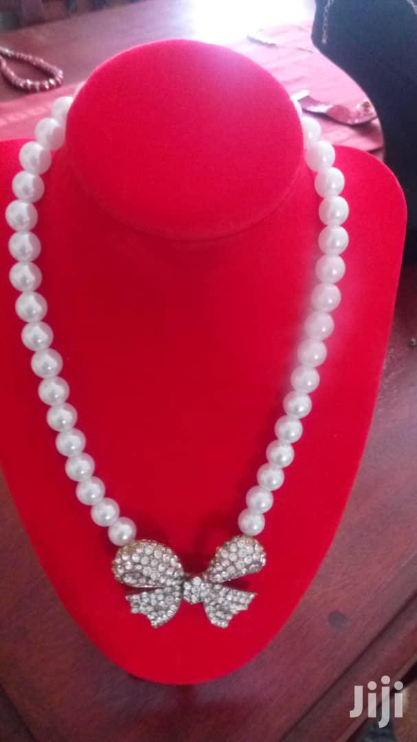 Pearl Beaded Ribbon Pendant Charm Necklace